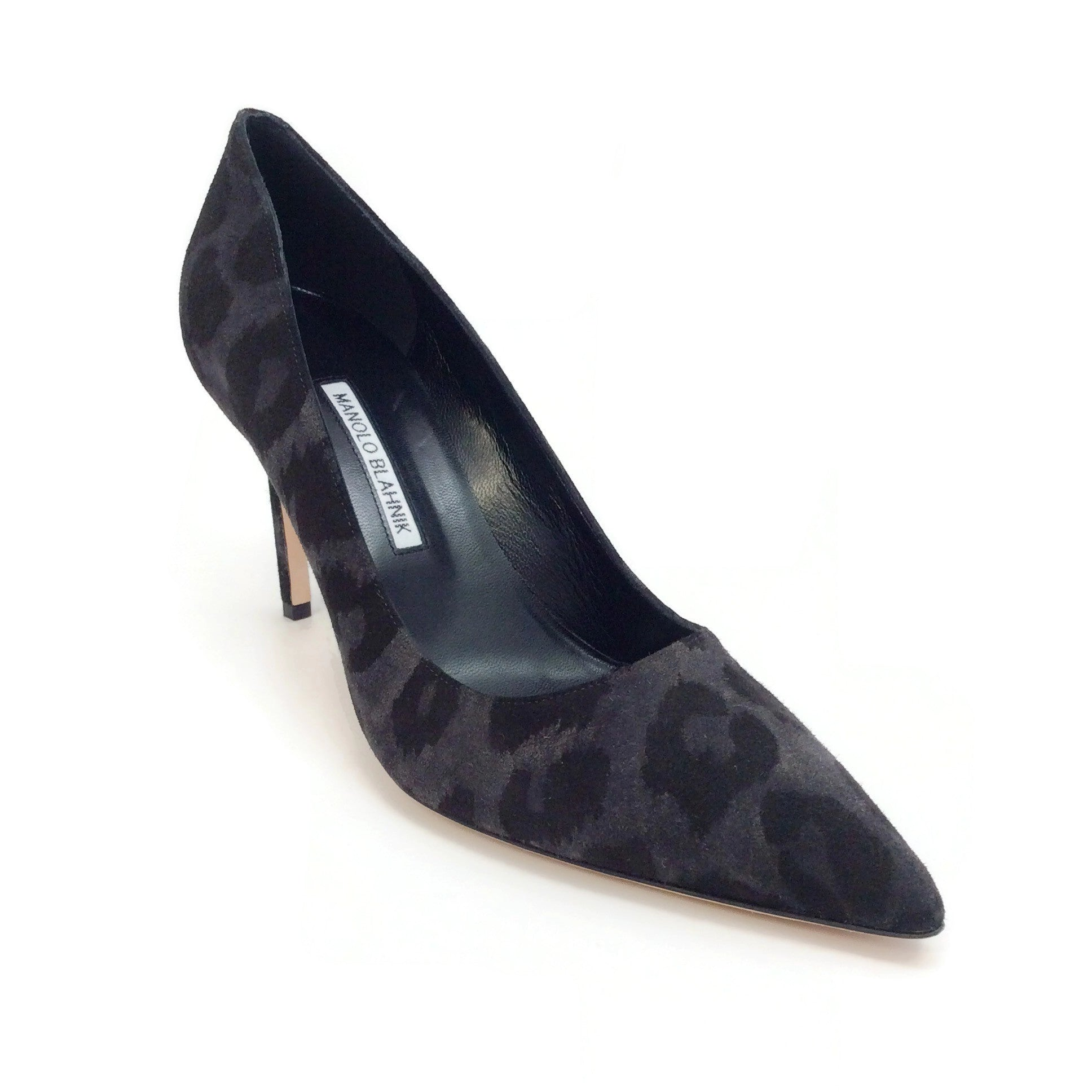 Manolo Blahnik Black Camo Suede Bb 90 Pumps