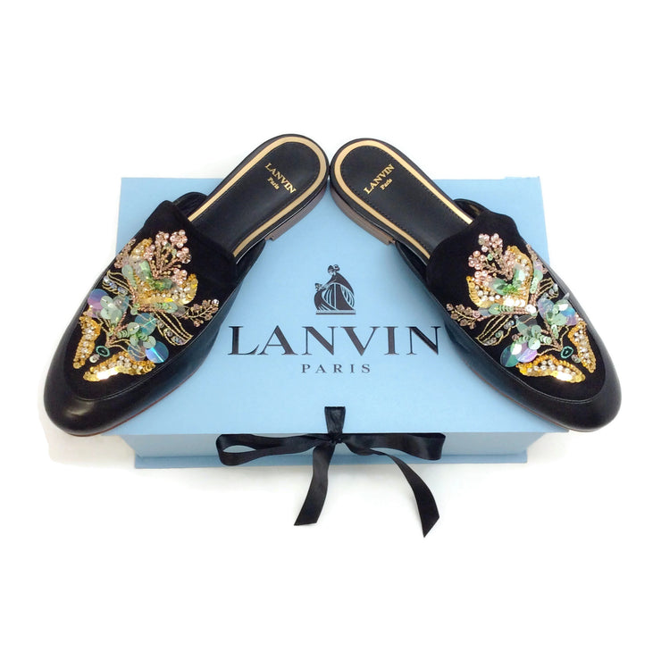 Lanvin Black / Multi Bead and Sequin Embellished Mules