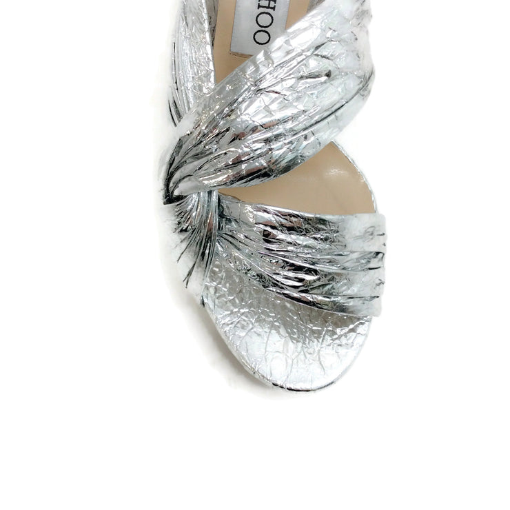 Jimmy Choo Silver Metallic Foil Abril 130 Sandals