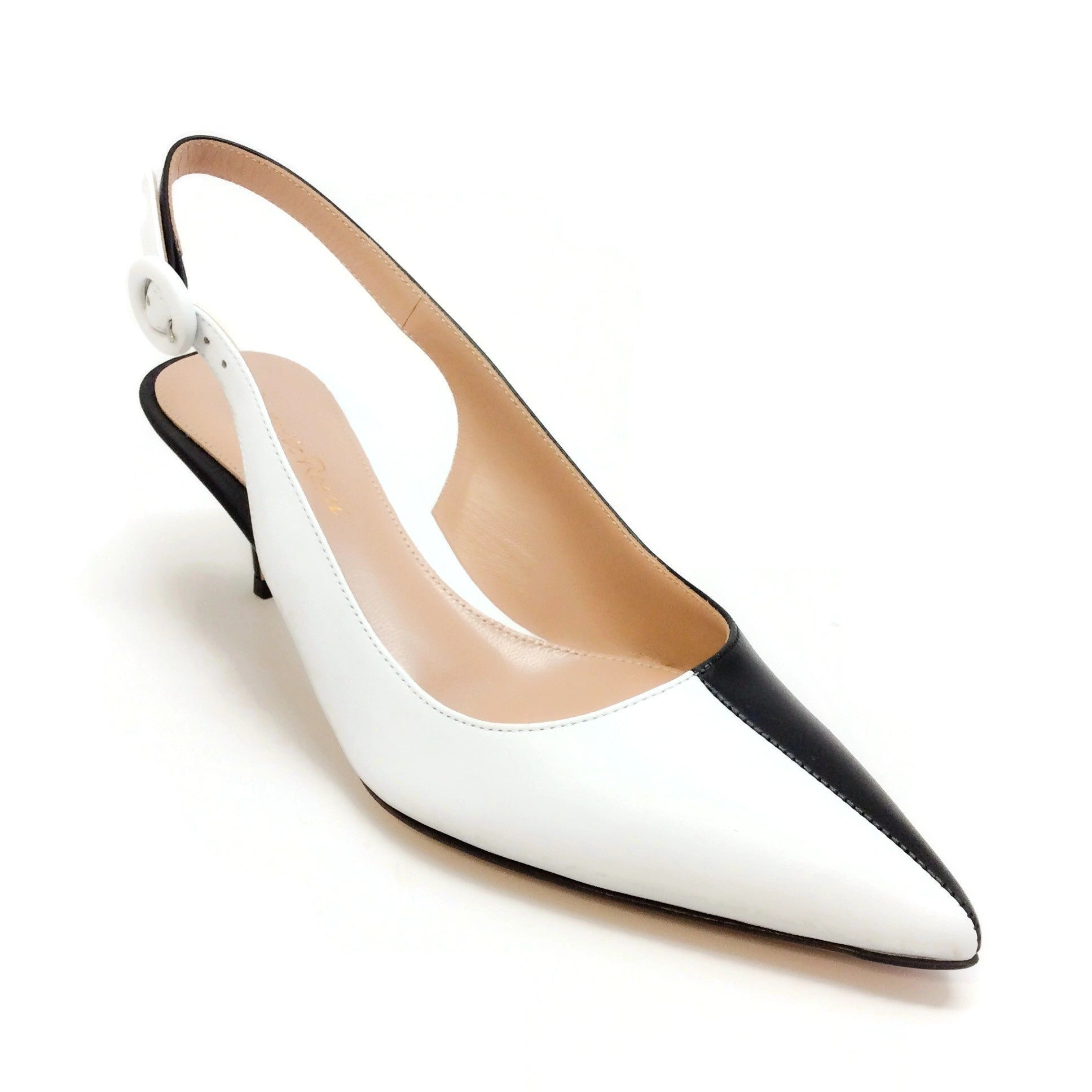 Gianvito Rossi Black / White Arleen Slingback Pumps