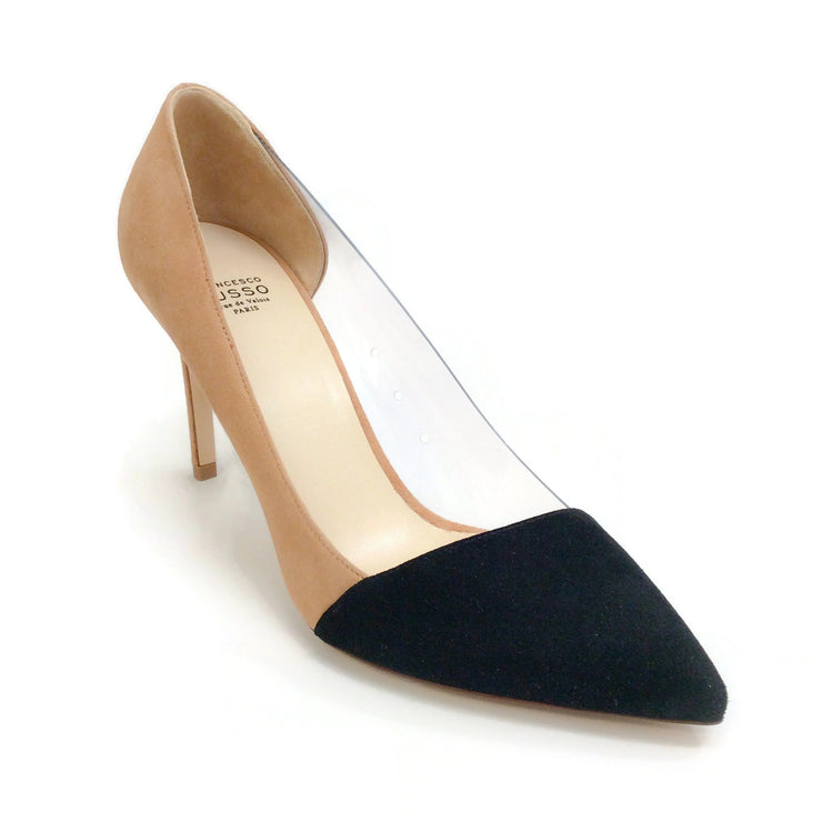 Francesco Russo Black / Camel Bicolored Suede / PVC Pumps