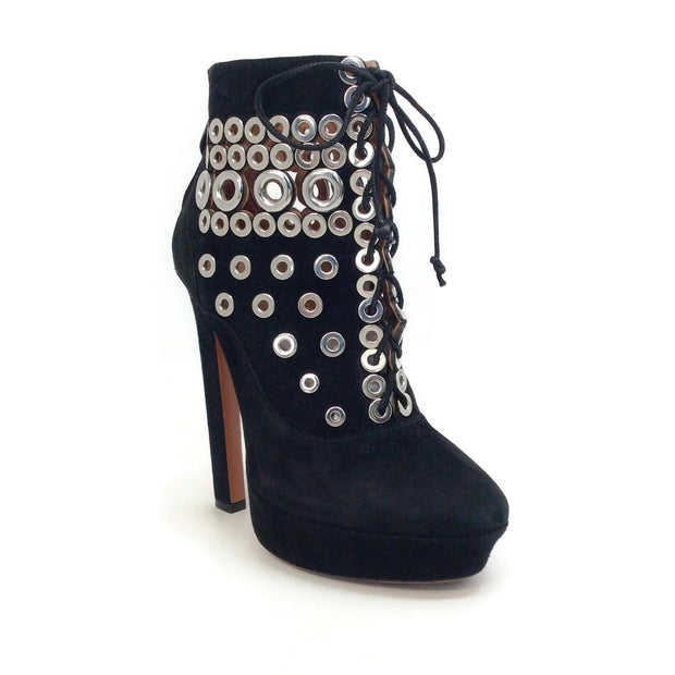 ALAÏA Black Suede Lace Up with Grommets Boots