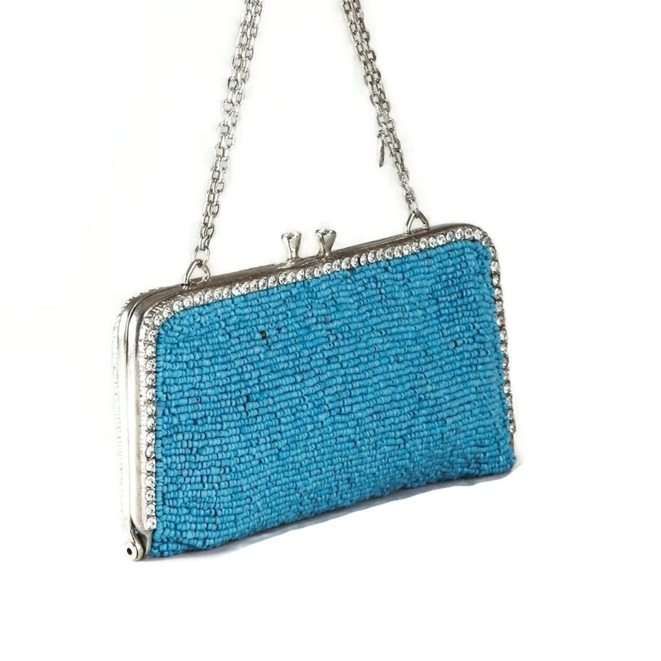 Clara Kasavina Beaded with Chain Turquoise Beads Clutch