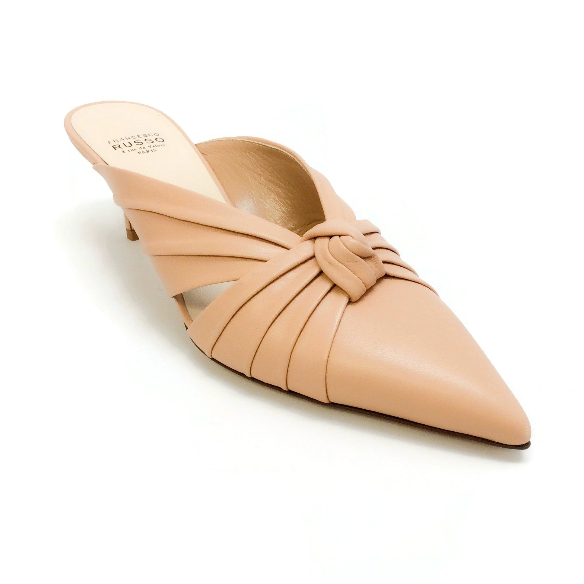 Francesco Russo Nude Knotted Mules