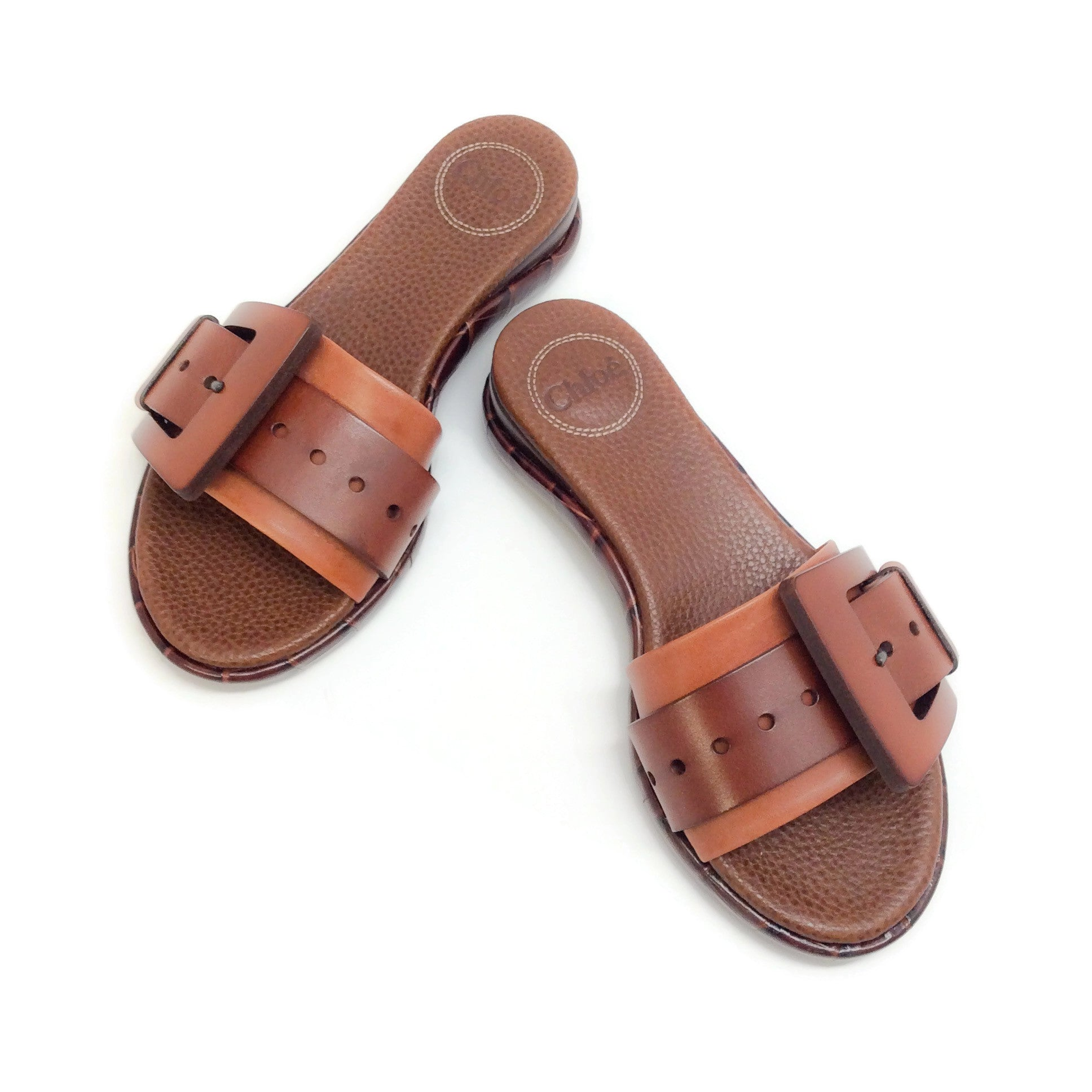 Chloé Mustang Brown Buckle Slide Sandals