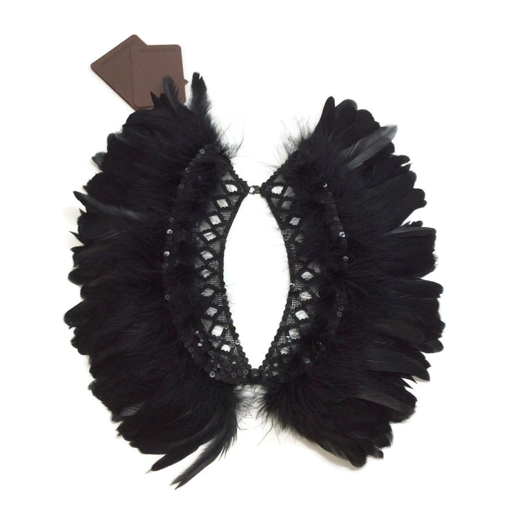 Louis Vuitton Black Feather Embellished Collar
