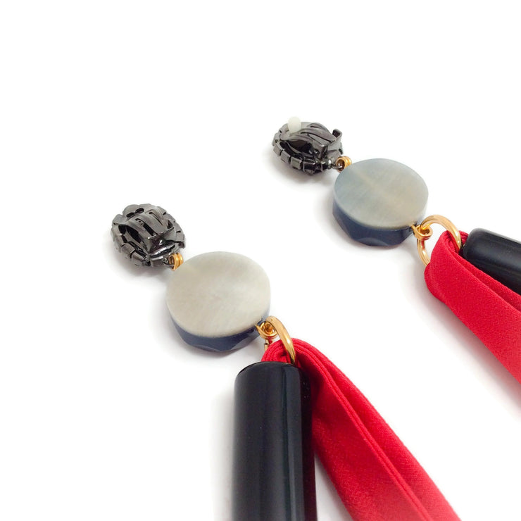 Marni Red Extra Long Resin and Silk Earrings