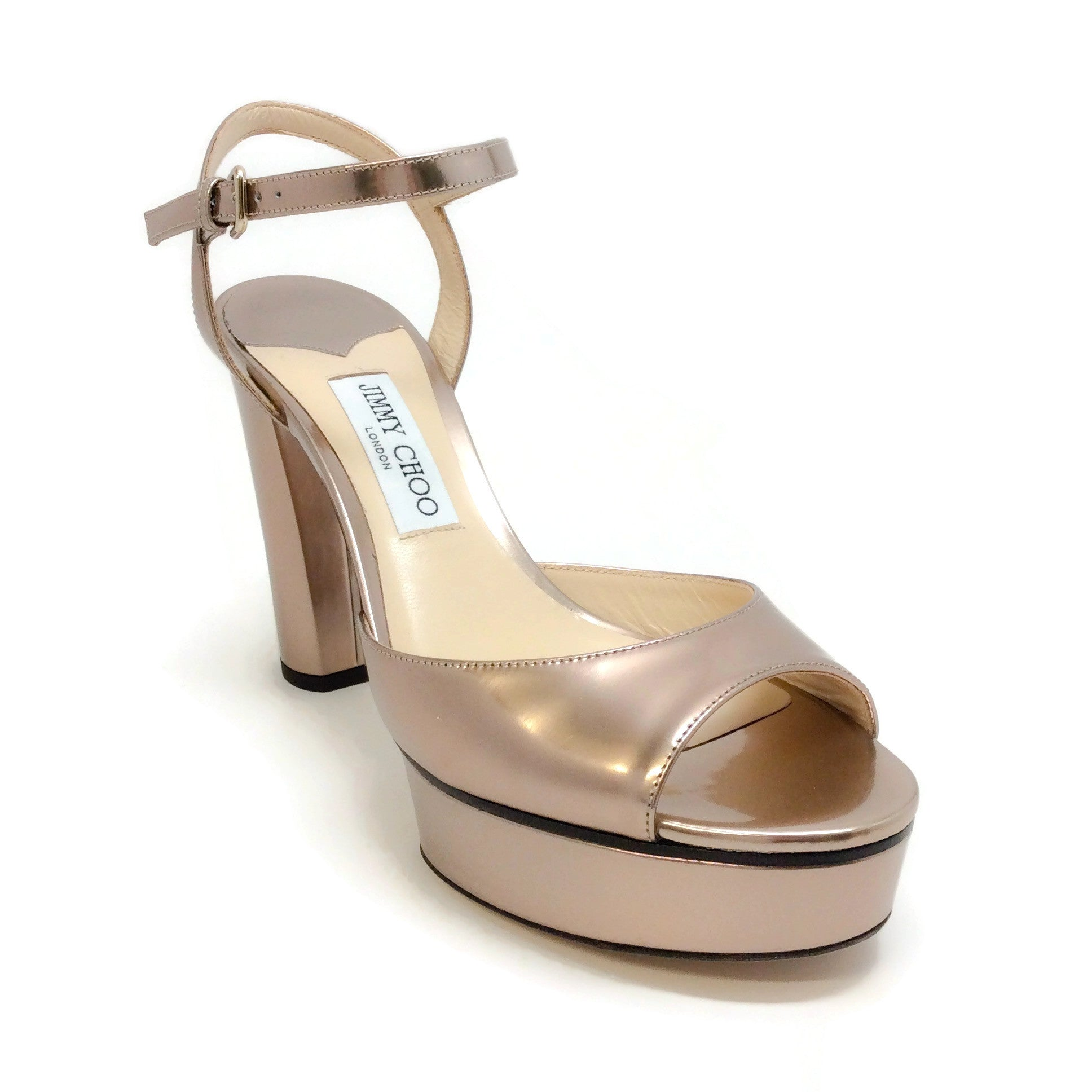 Jimmy Choo Rose Gold Peachy Platform Sandals