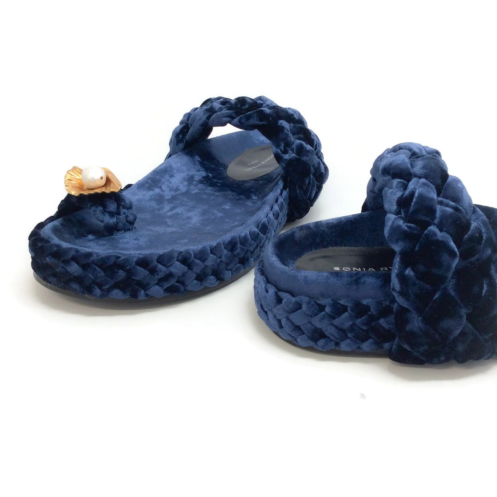 Sonia Rykiel Blue Velvet Braided Thong with Shell Sandals