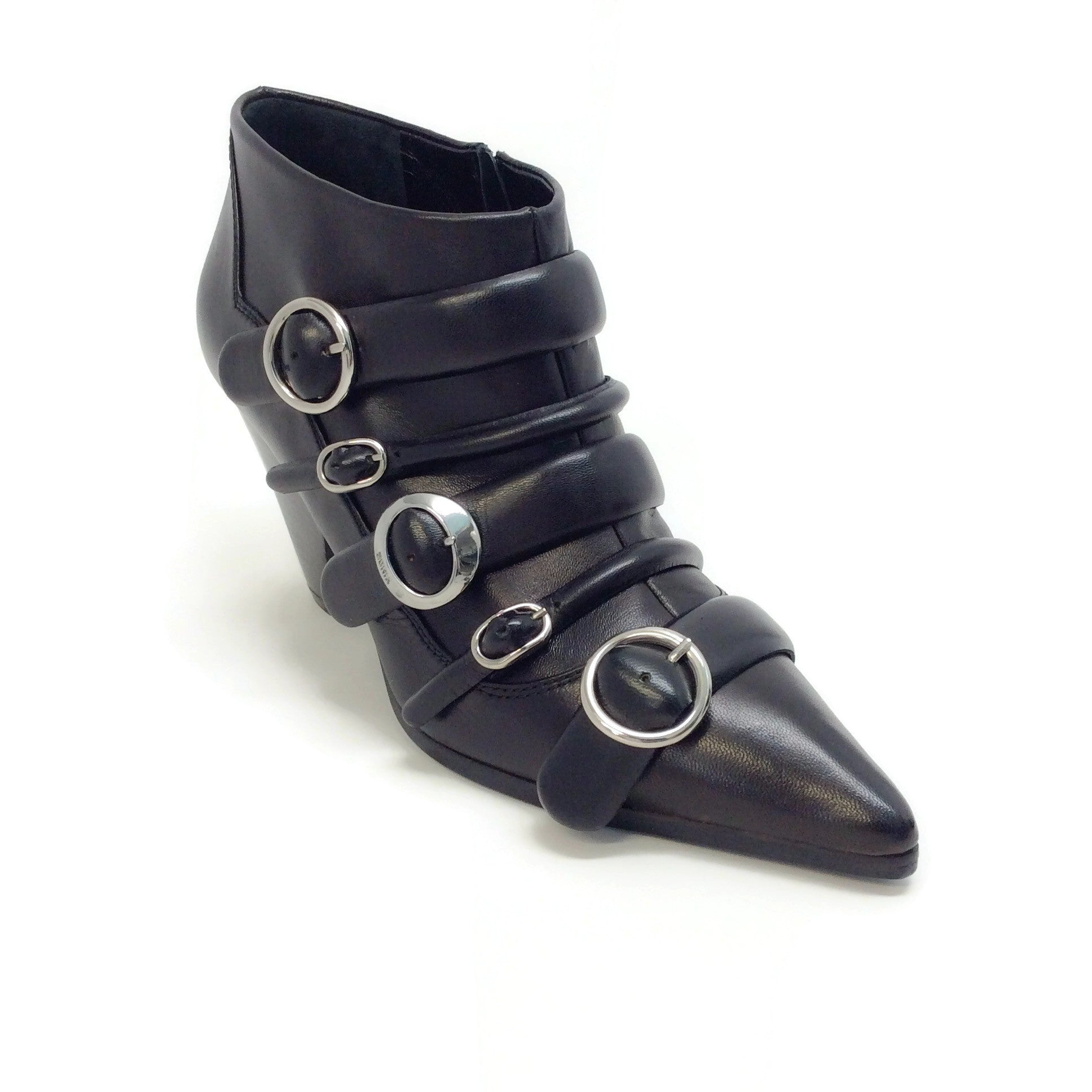Sonia Rykiel Black Leather Multi Buckle Ankle Boots