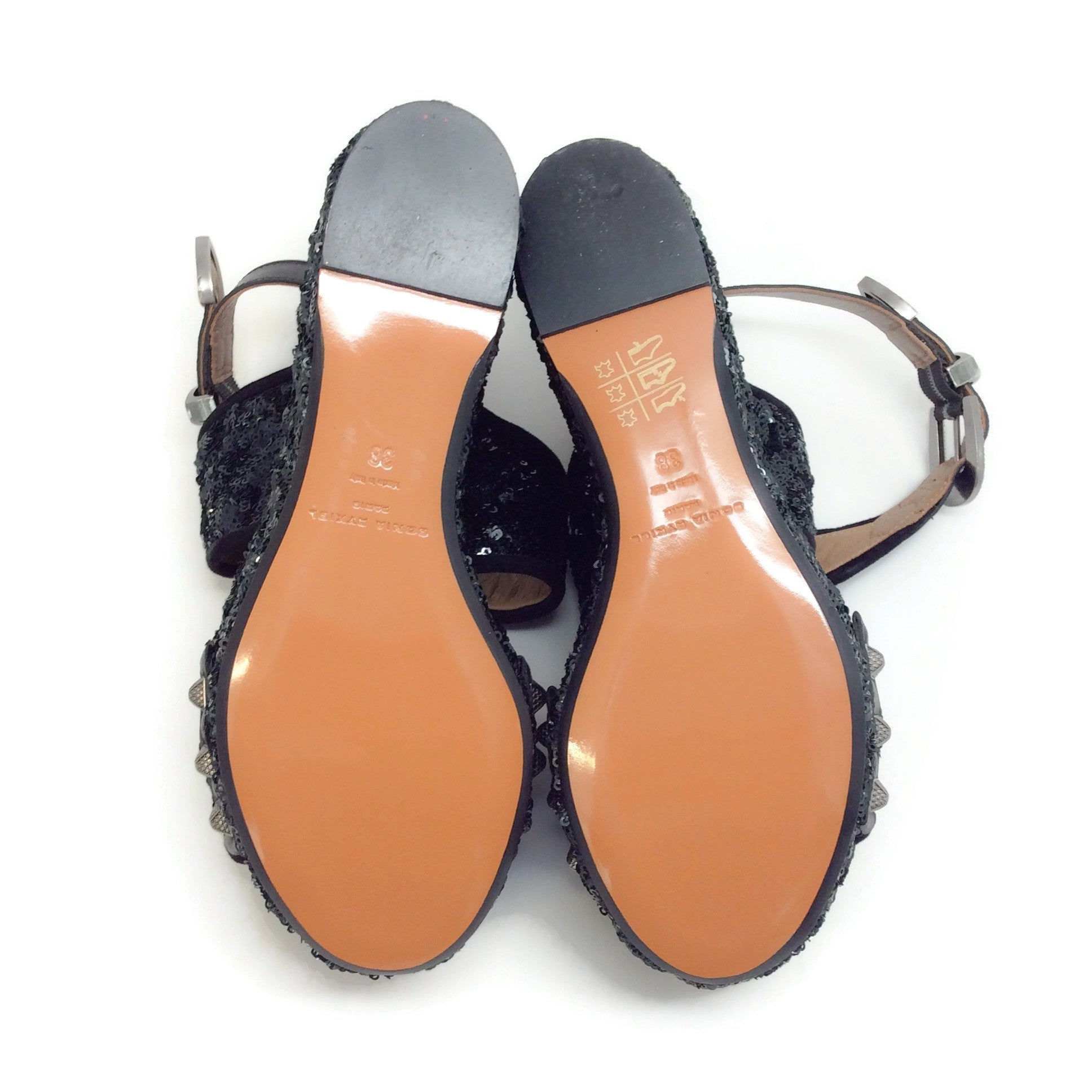 Sonia Rykiel Black Sequin Criss Cross Wedge Sandals