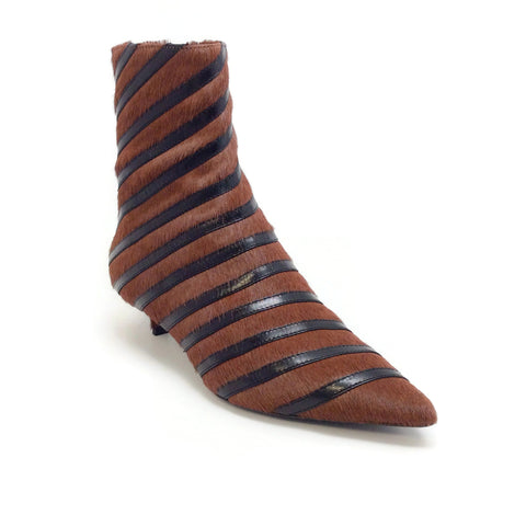 Sonia Rykiel Marron / Black Calf Stripe Detail Kitten Heel Boots