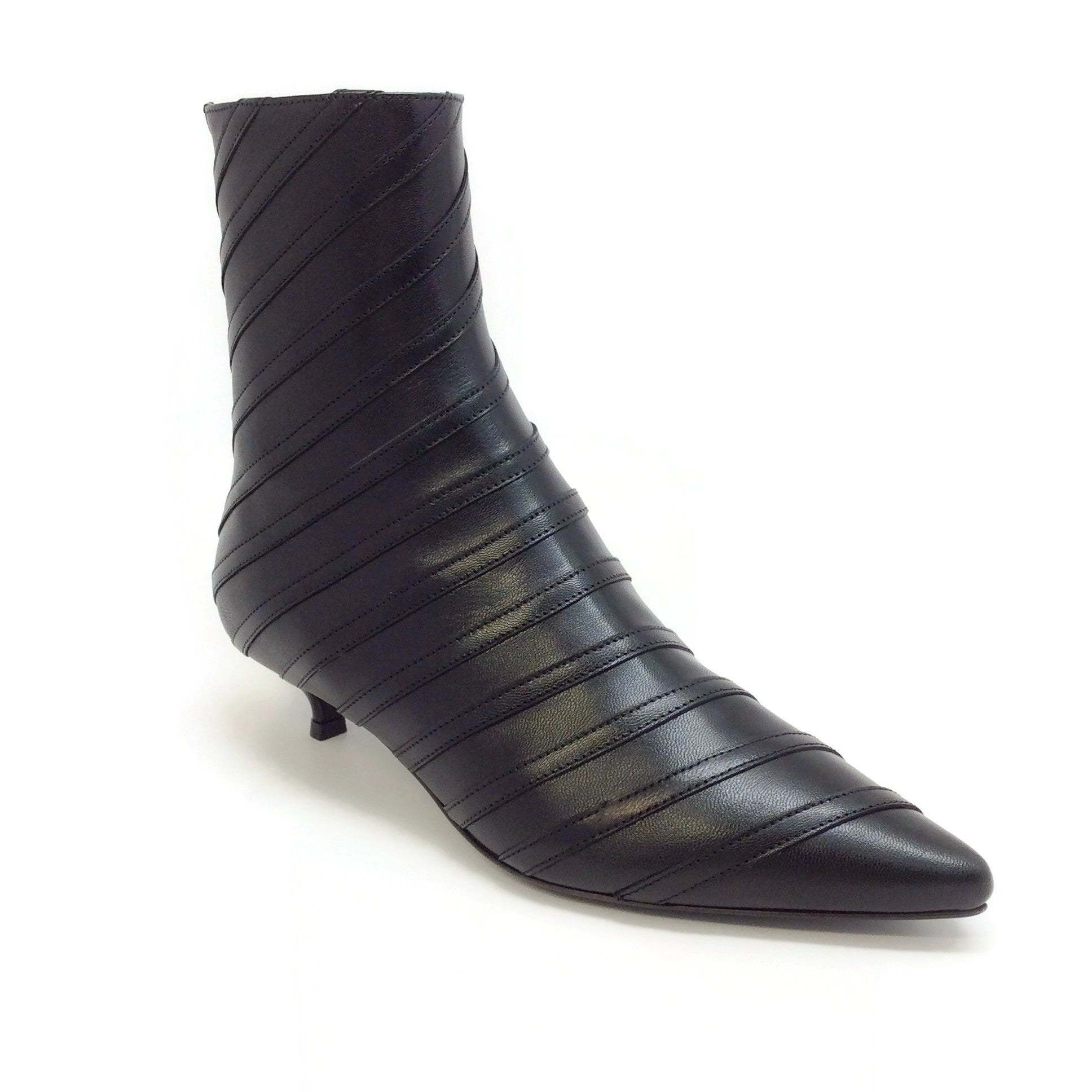 Sonia Rykiel Black Leather Stripe Detail Kitten Heel Boots
