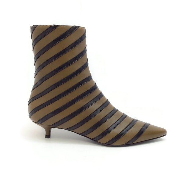 Sonia Rykiel Olive / Black Leather Stripe Detail Kitten Heel Boots
