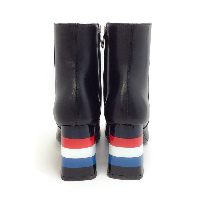 Sonia Rykiel Black Leather Red / White / Blue Striped Heel Boots