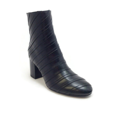 Sonia Rykiel Black Leather Stripe Detail Chunky Heel Boots