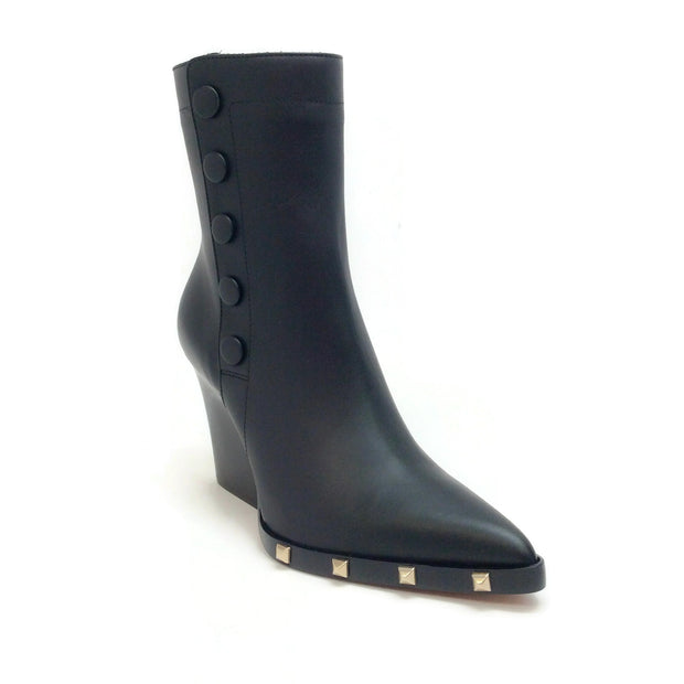 Sonia Rykiel Black Leather Snap Stud Embellished Boots