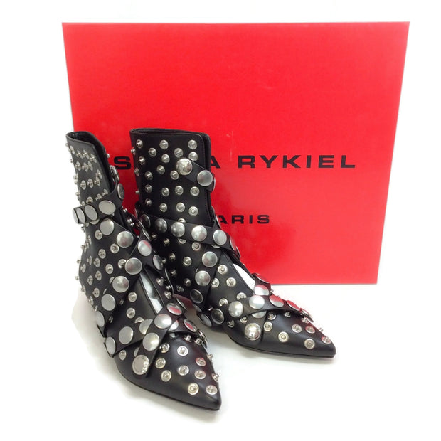 Sonia Rykiel Black Snap Ankle Boots