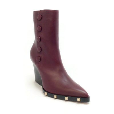 Sonia Rykiel Oxblood Leather Snap Stud Embellished Boots