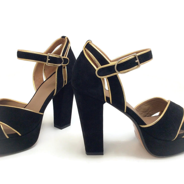 Sonia Rykiel Black Suede Criss Cross with Gold Trim Sandals