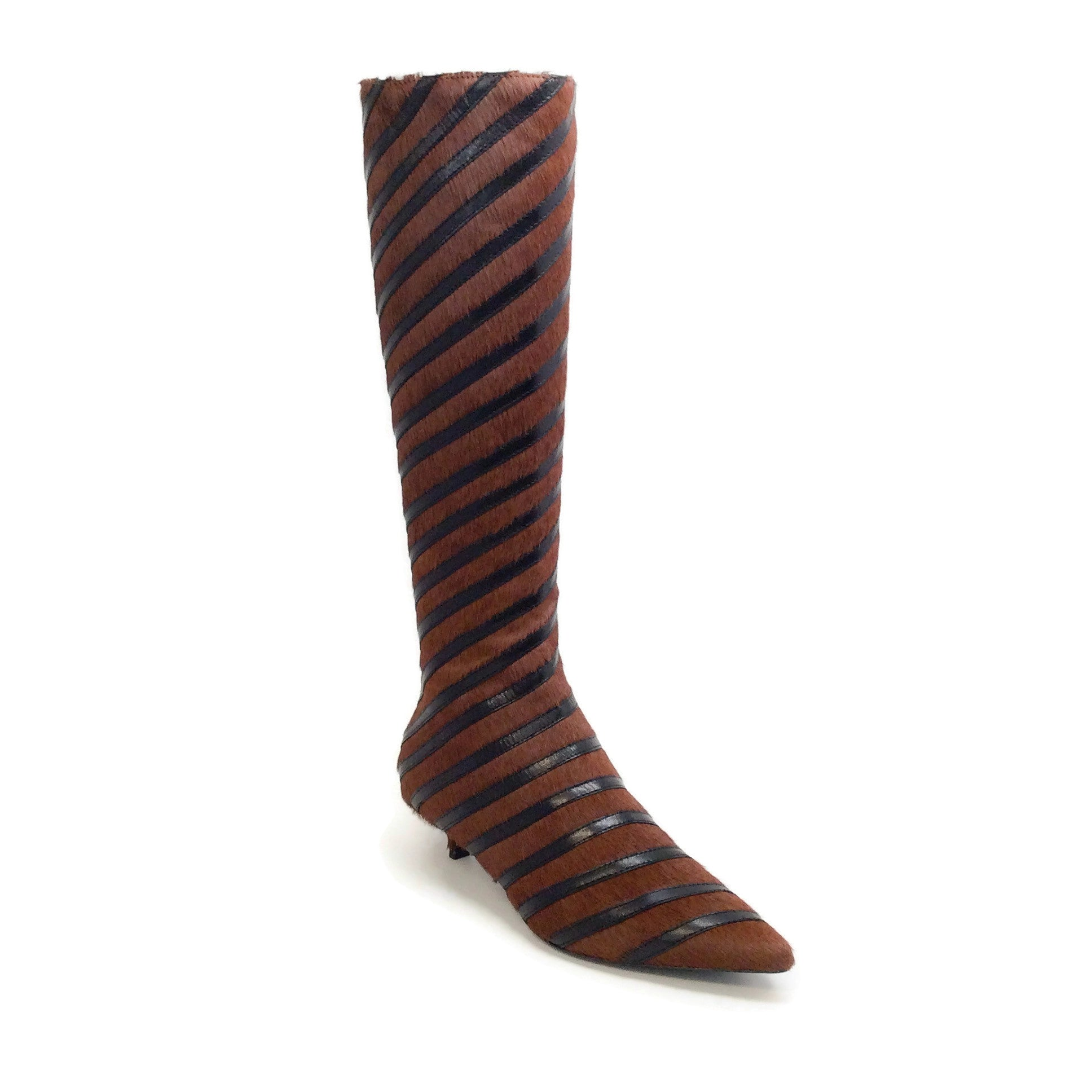Sonia Rykiel Marron / Black Calf Stripe Detail Kitten Heel Tall Boots