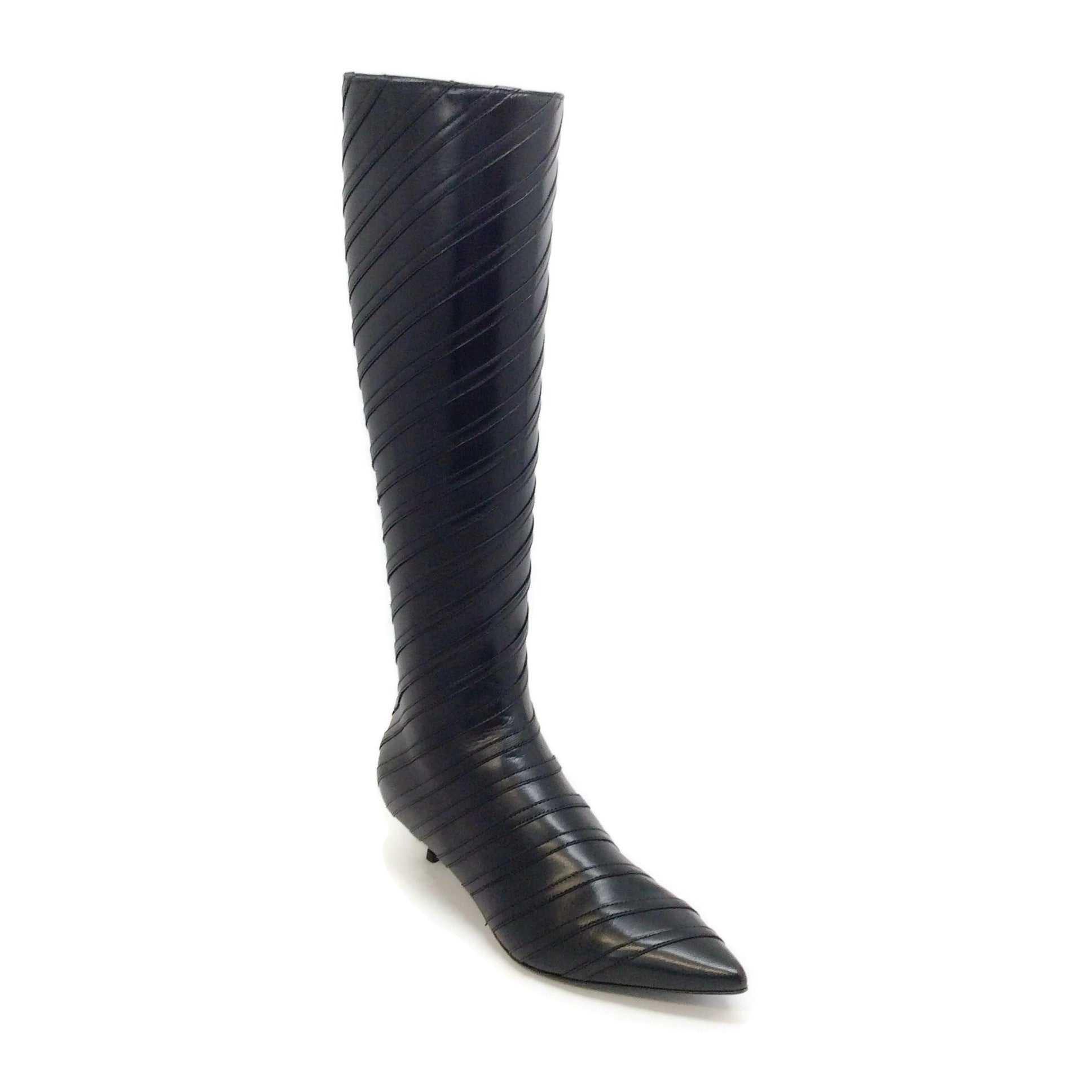 Sonia Rykiel Black / Black Calf Stripe Detail Kitten Heel Tall Boots