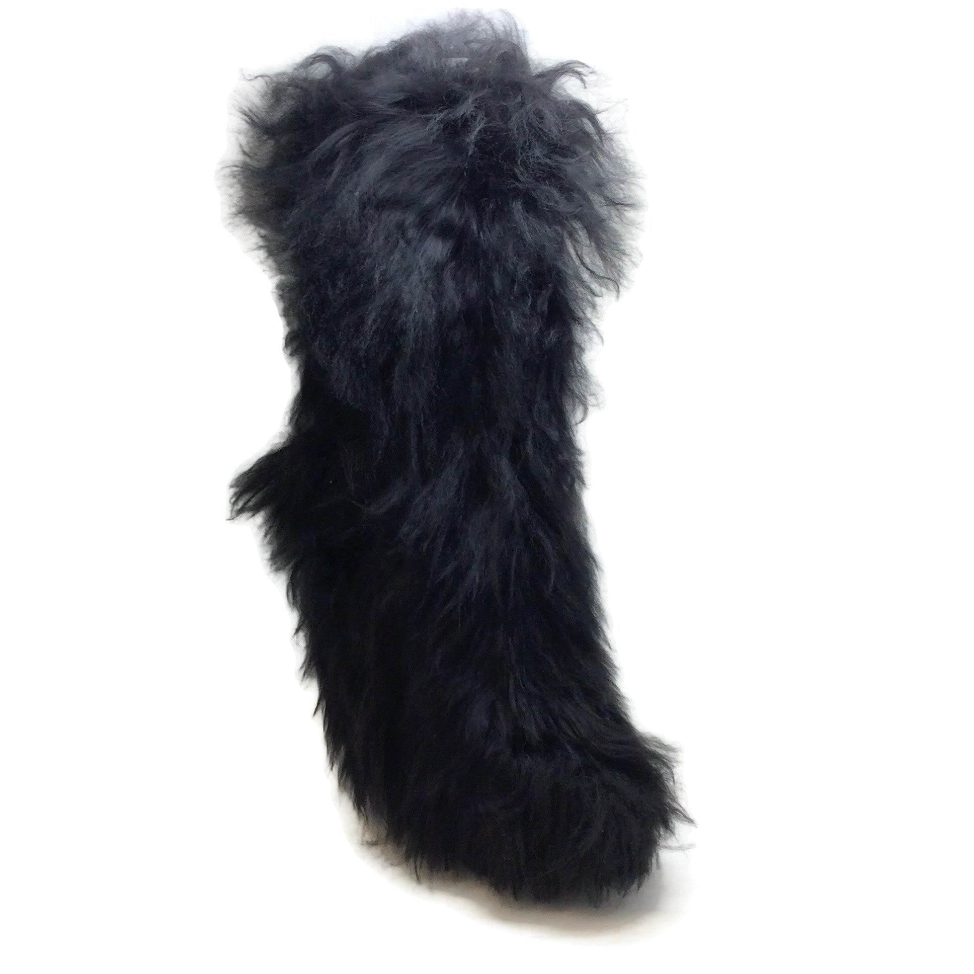 Sonia Rykiel Black Knee High Fur Boots