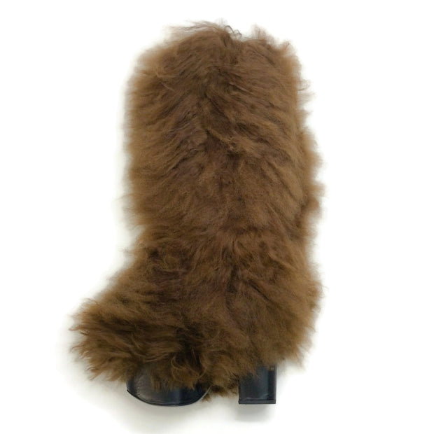 Sonia Rykiel Brown Knee High Fur Boots