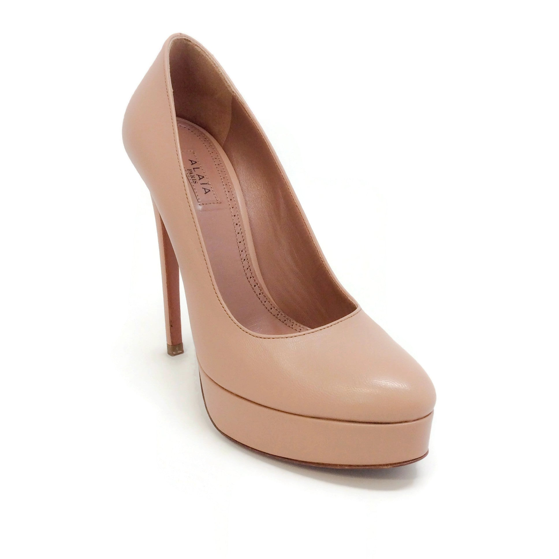 ALAÏA Nude Leather Platform Pumps