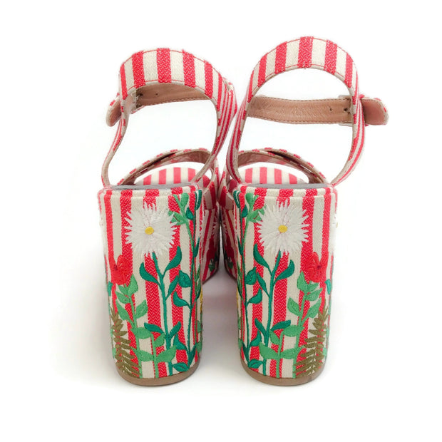 Laurence Dacade Red / White Embroidered Helissa Sandals