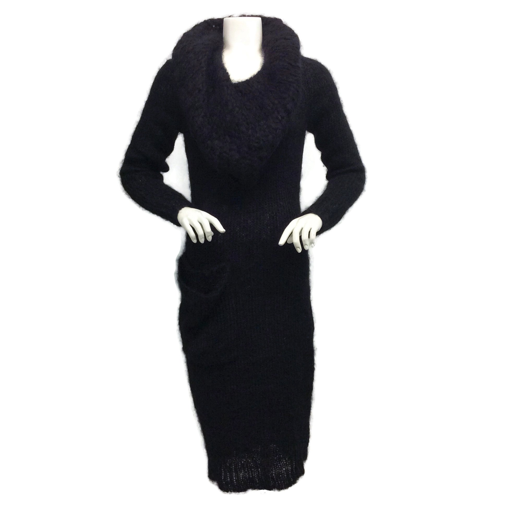 Alexander McQueen Black Mohair Cowl Neck Sweater Dress