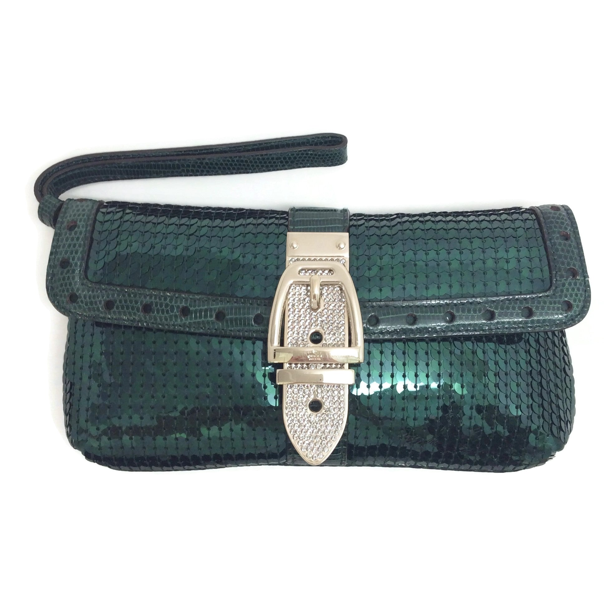 Gucci Clutch Emerald Green Sequin Wristlet