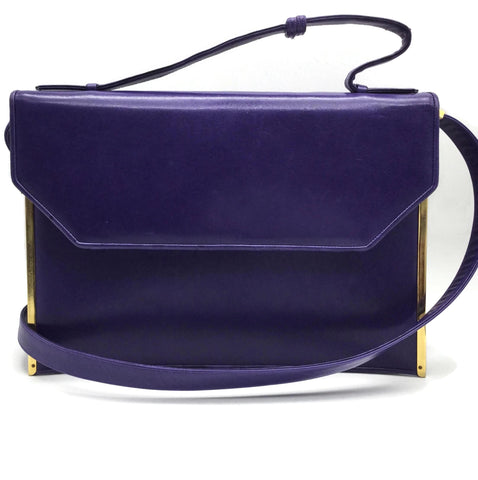 Judith Leiber Vintage Purple Leather Shoulder Bag