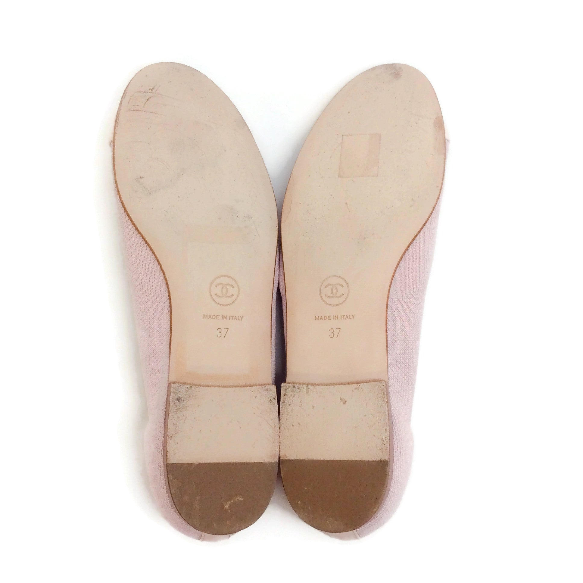 Chanel Light Pink Knit with Patent Cap Toe Ballet Flats