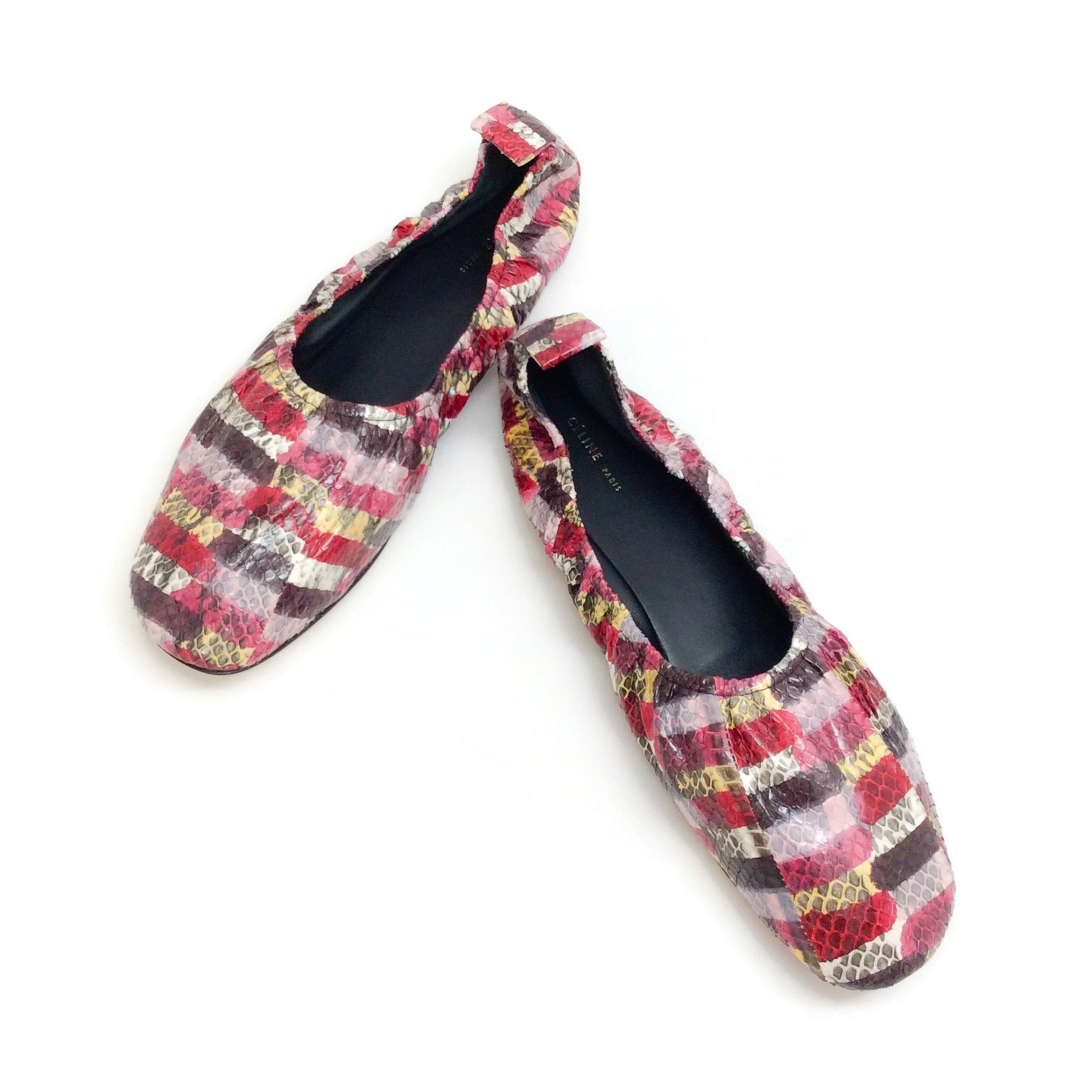 Céline Multicolor Watersnake Soft Ballerina Flats