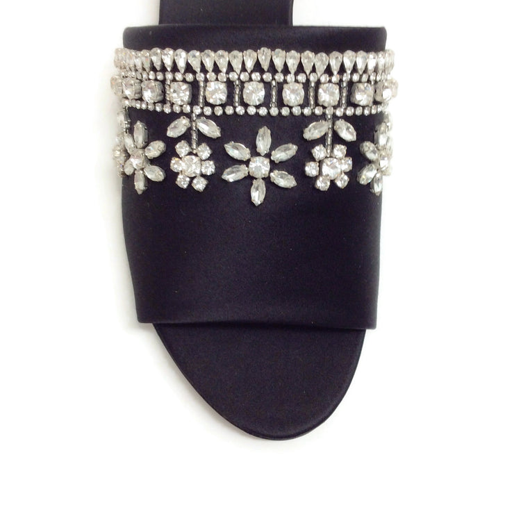 Rochas Black Crystal Embellished Slide Sandals