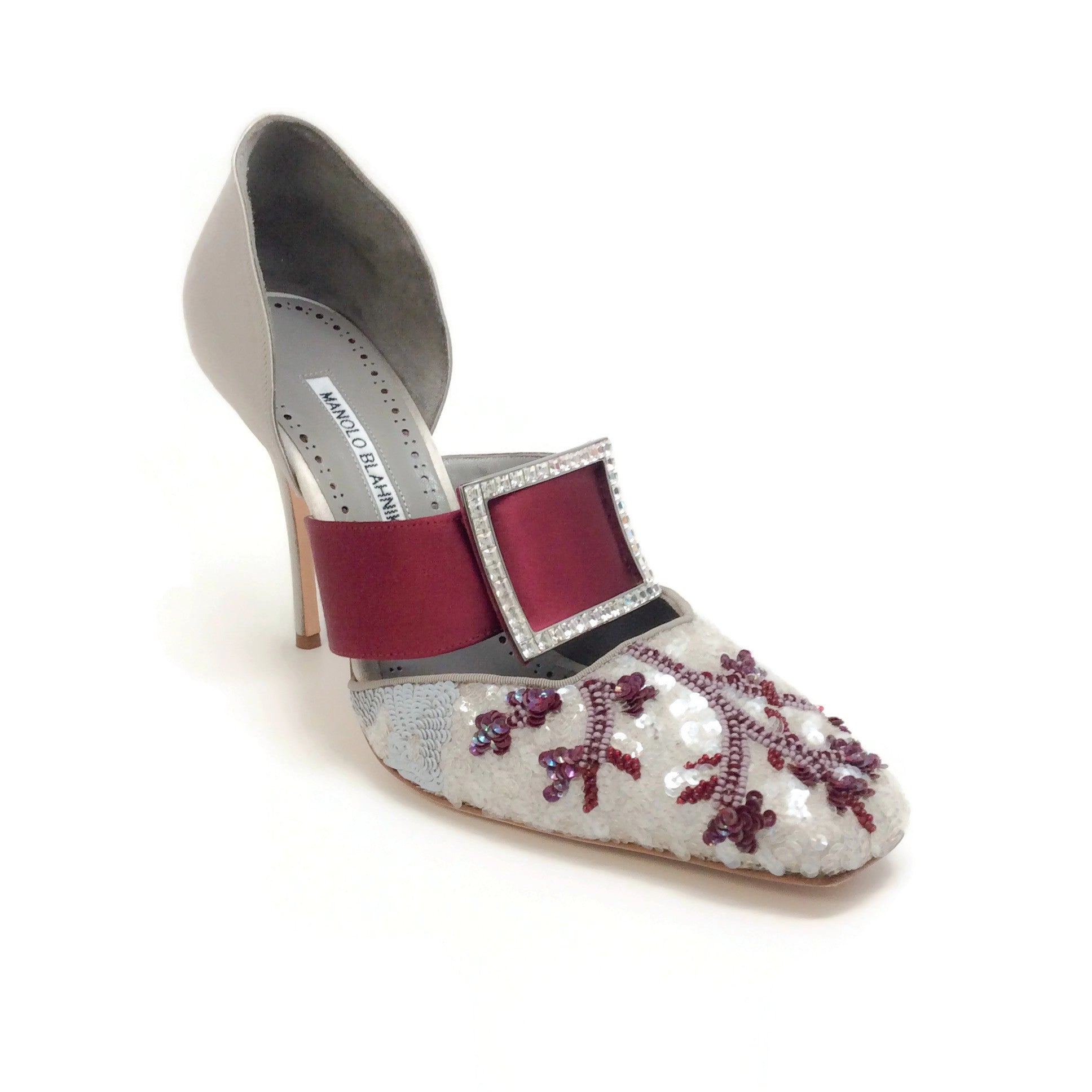Manolo Blahnik Silver / Oxblood Vasliev Buckle Pumps