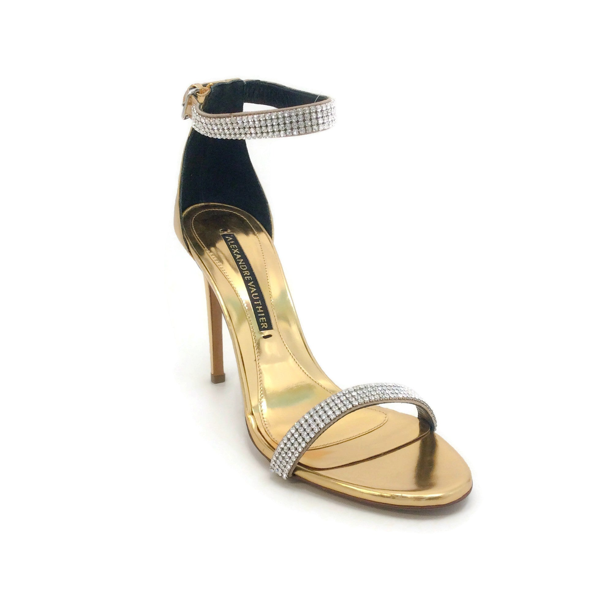 Alexandre Vauthier Gold Metallic Crystal Sandals