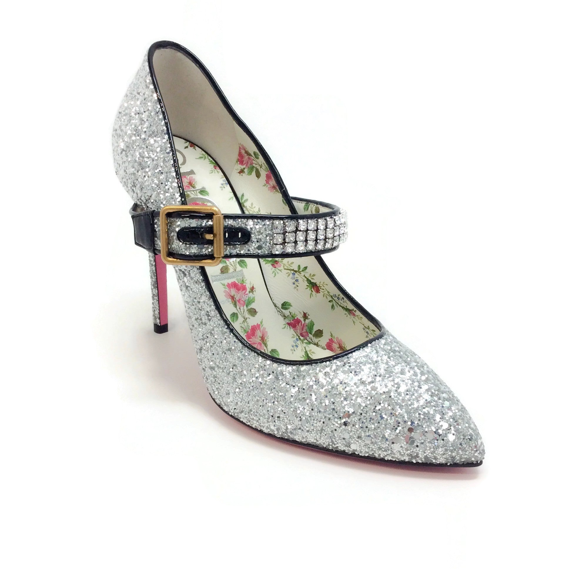 Gucci Silver Glitter Crystal Adorned Strap Pumps