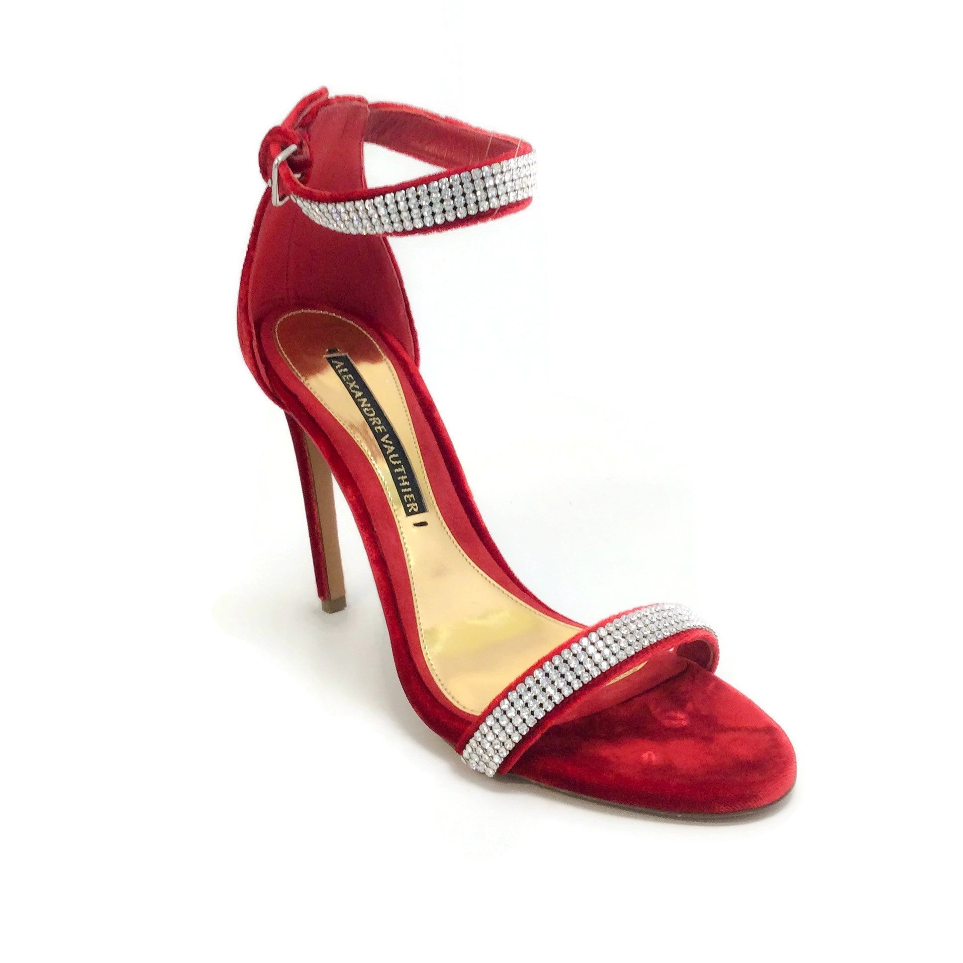 Alexandre Vauthier Red Velvet Crystal Sandals