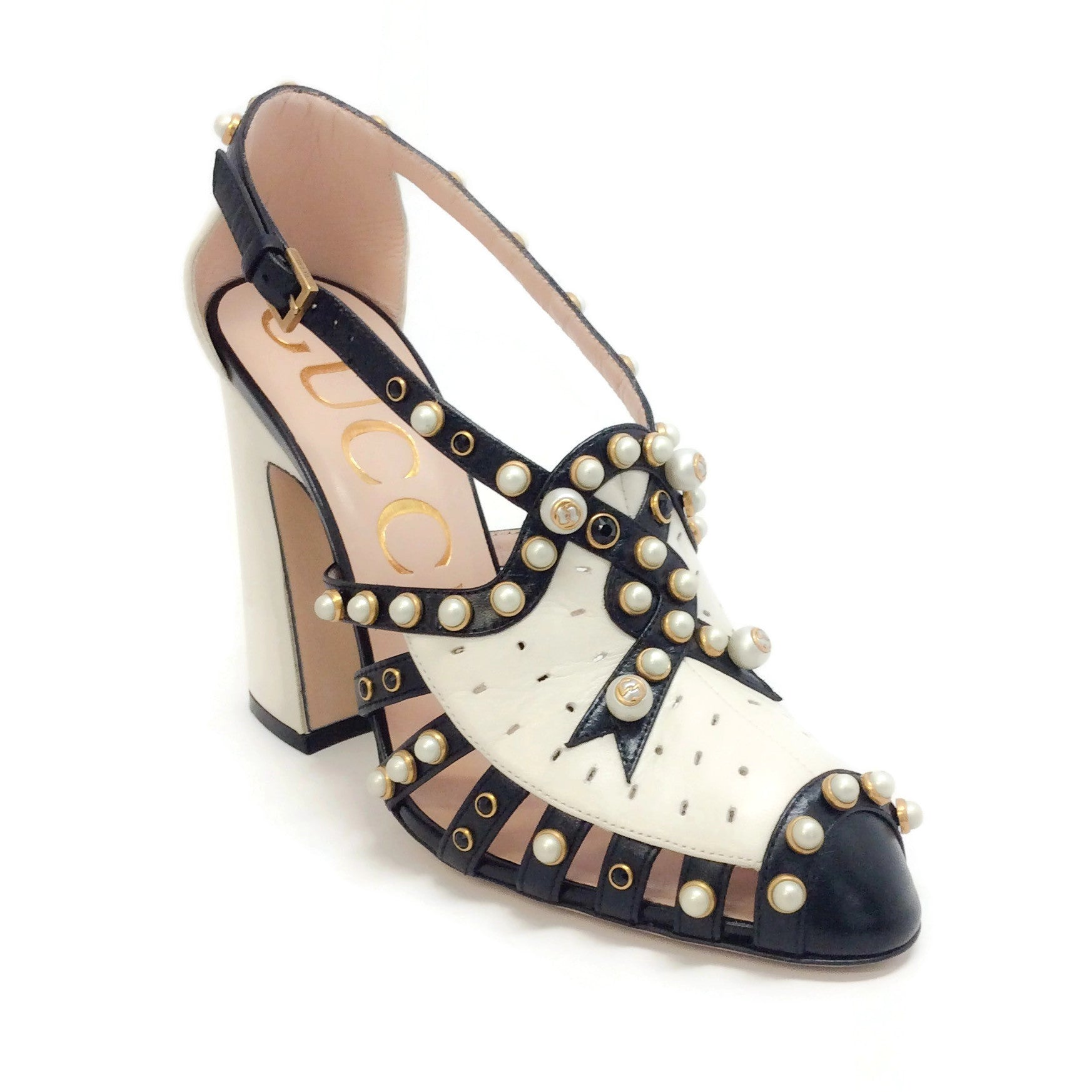 Gucci Black / Mystic White Tracy 100 Pearl Studed Pumps