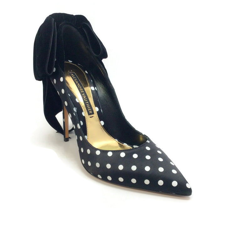 Alexandre Vauthier Black / White Polka Dot Bowdon Pumps