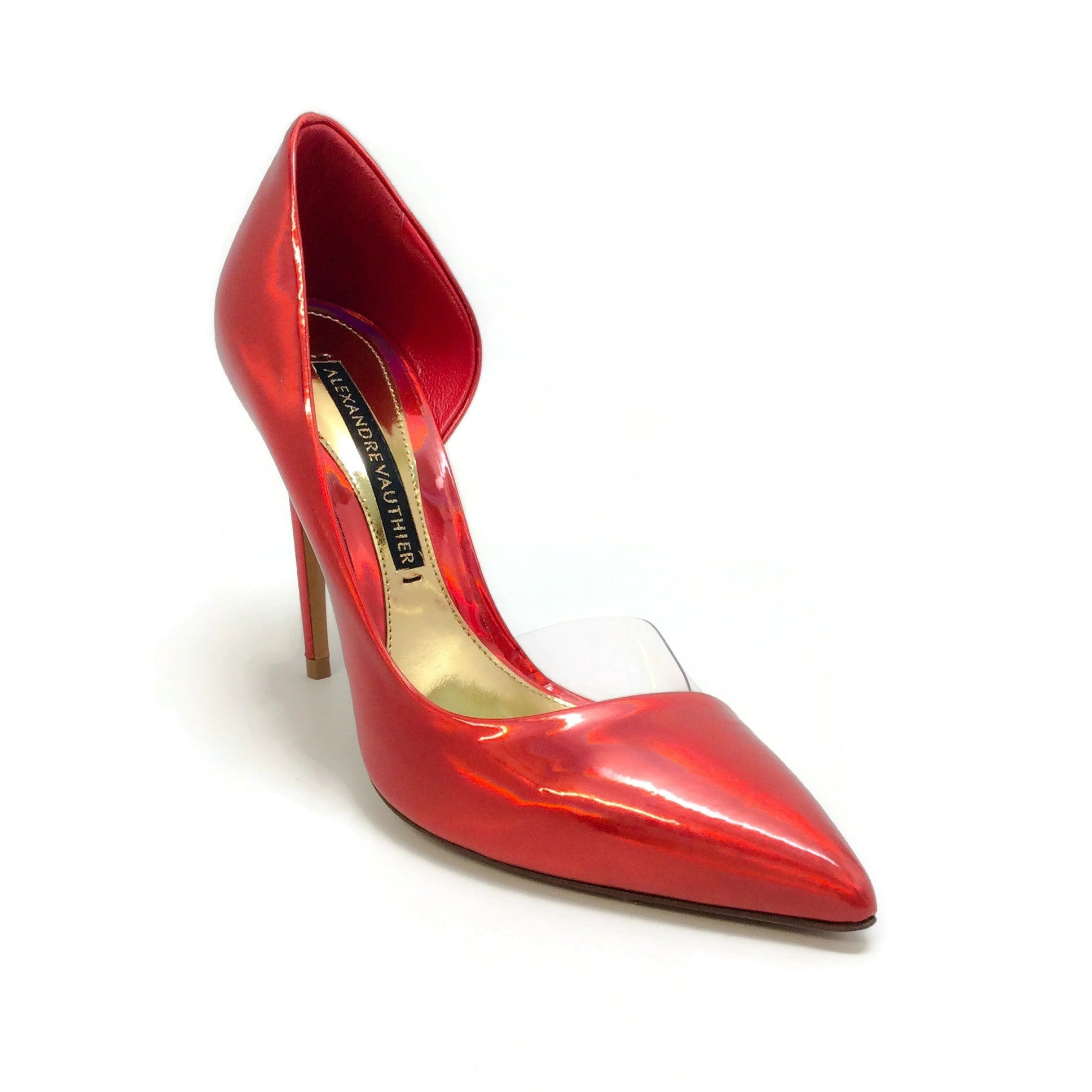 Alexandre Vauthier Red Iridescent Lottie Pumps