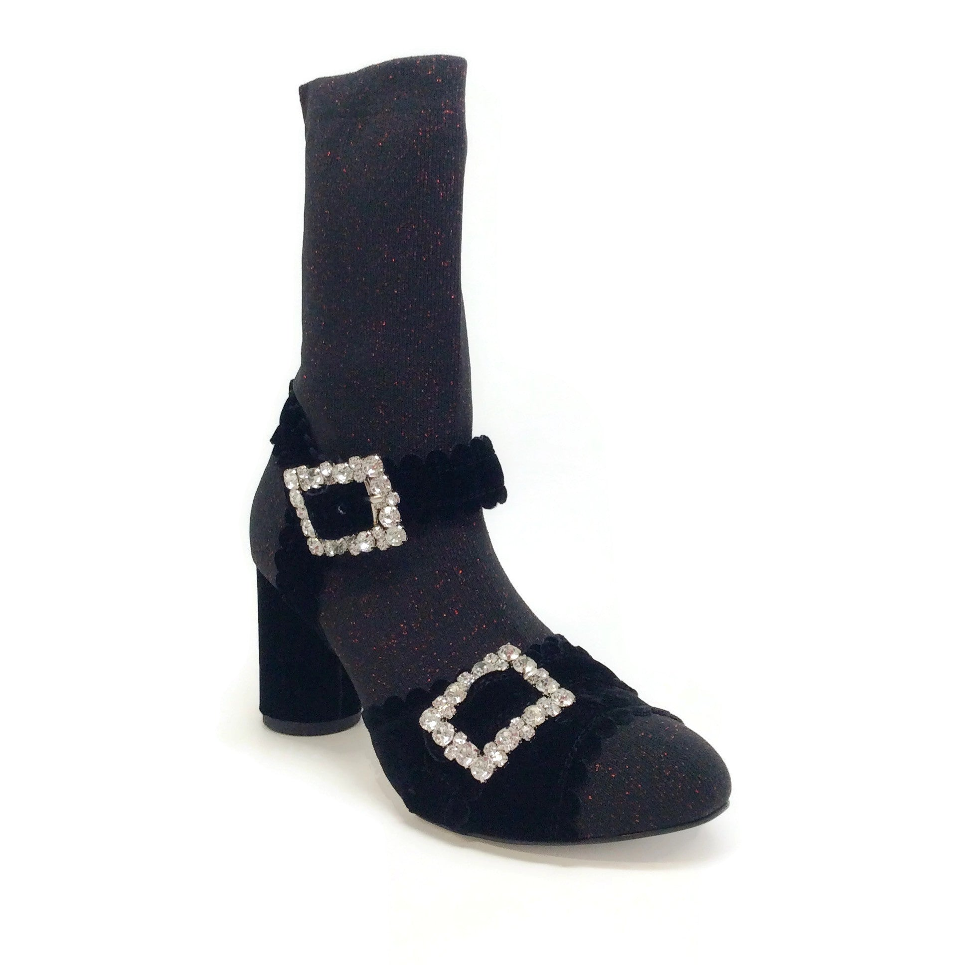 Suecomma Bonnie Black / Red Glitter Sock Sandal Boots