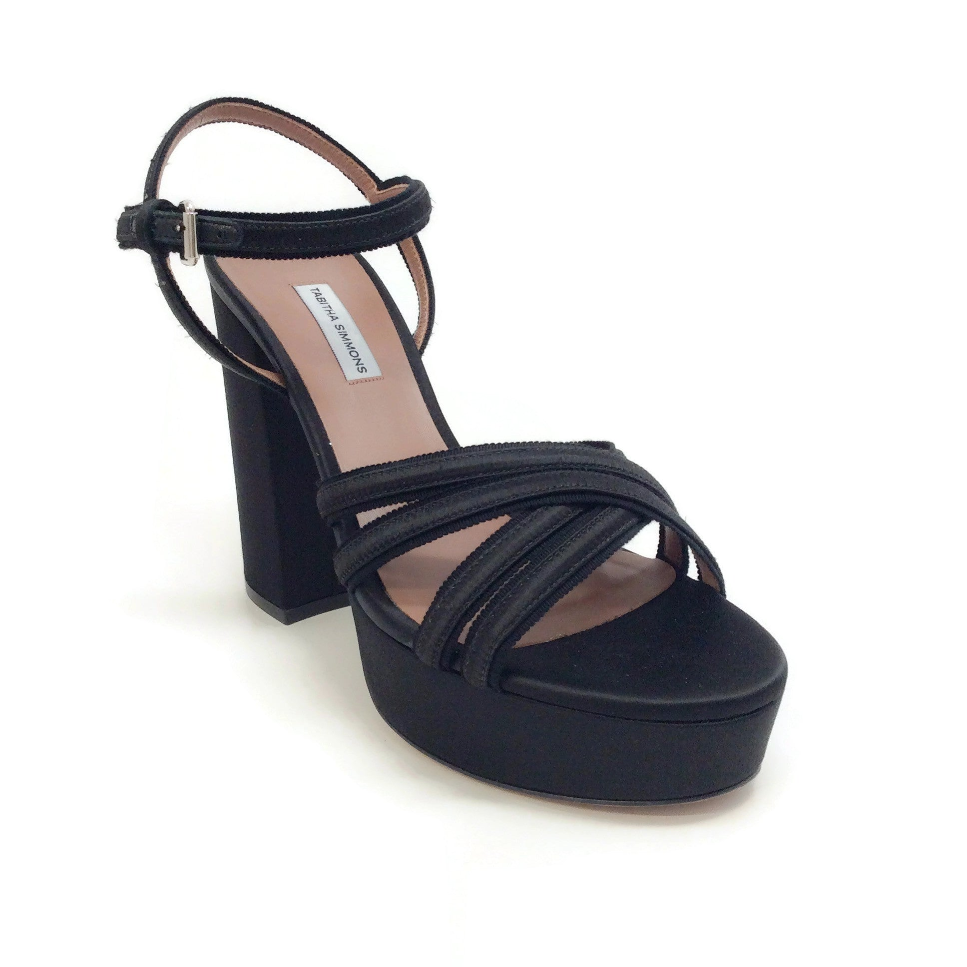 Tabitha Simmons Black Satin Hensley Platform Sandals