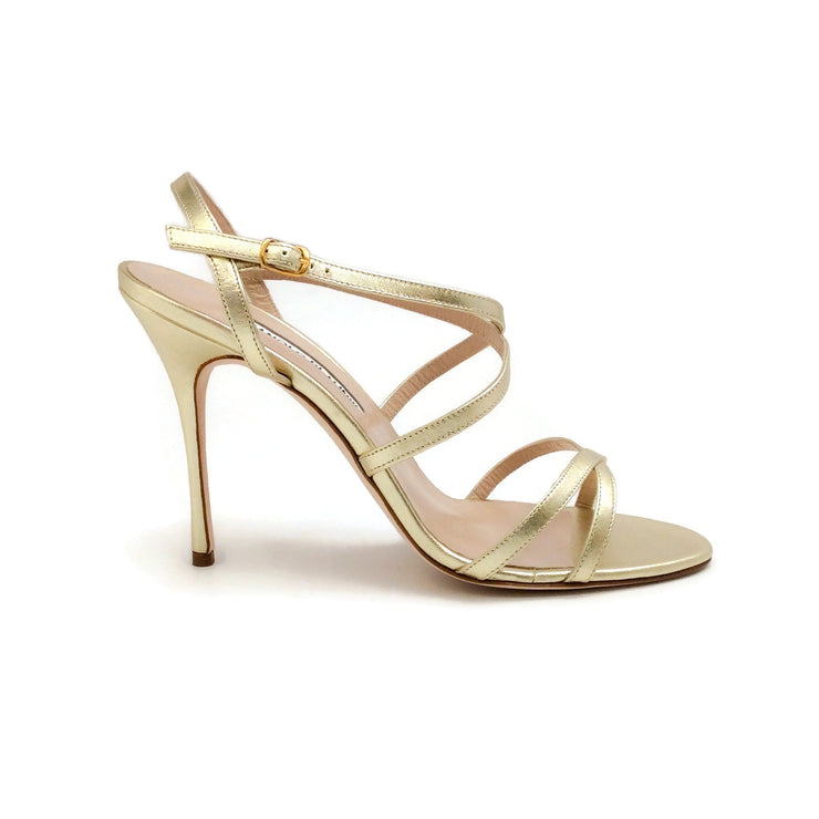Manolo Blahnik Gold Bayan Sandals