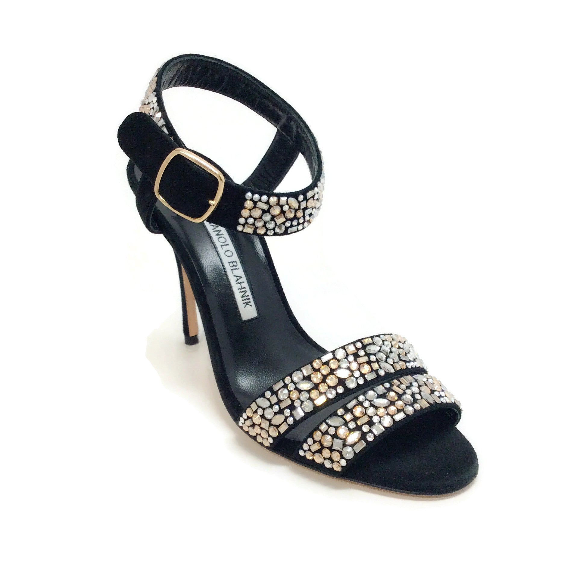 Manolo Blahnik Black with Crystals Lonia Sandals