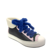 Fendi Black / Pink Shearling High Top Sneakers