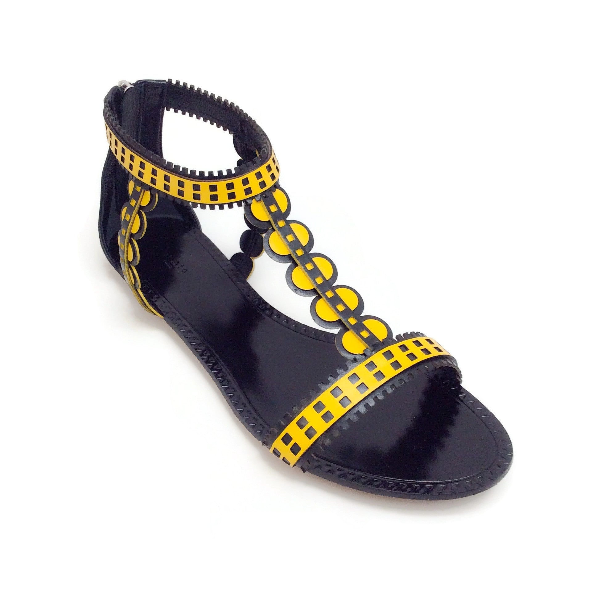 ALAÏA Black / Yellow Geometric Gladiator Sandals