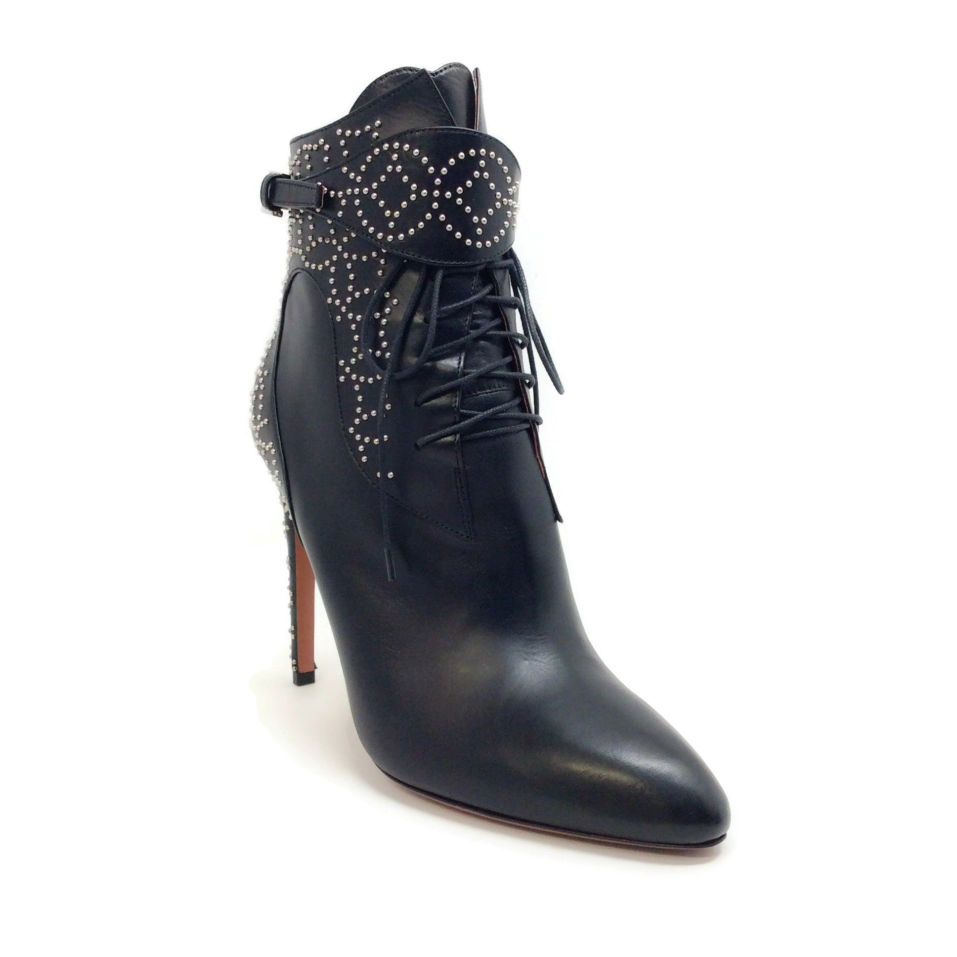 ALAÏA Black / Silver Embellished Lace Up Boots